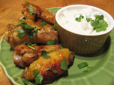 Verde Wings with Cilantro Dipping Sauce
