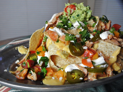 Ancho-Pulled-Chicken-Nachos-with-Green-Chile-Cheddar-Cheese-Sauce-7
